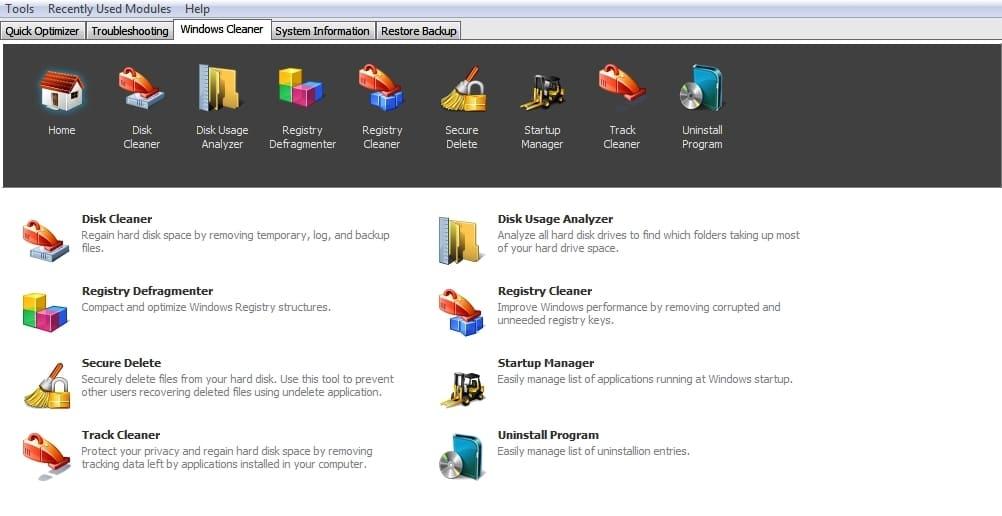 Вкладка управления очисткой и функциями программы