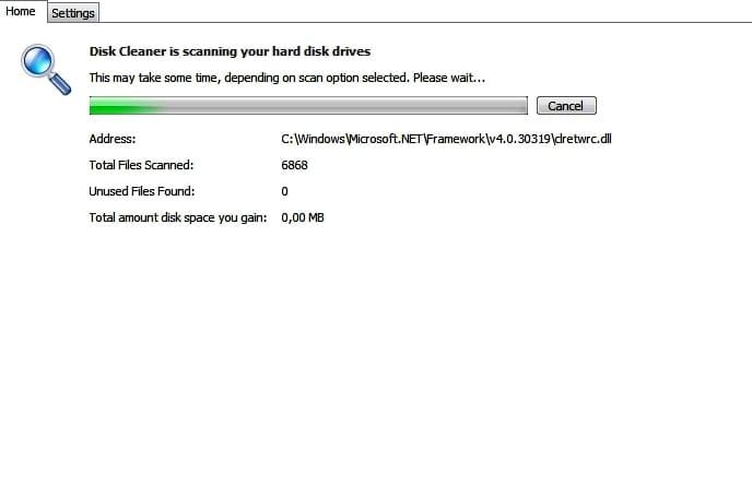 Сканирование дисков на наличие мусора