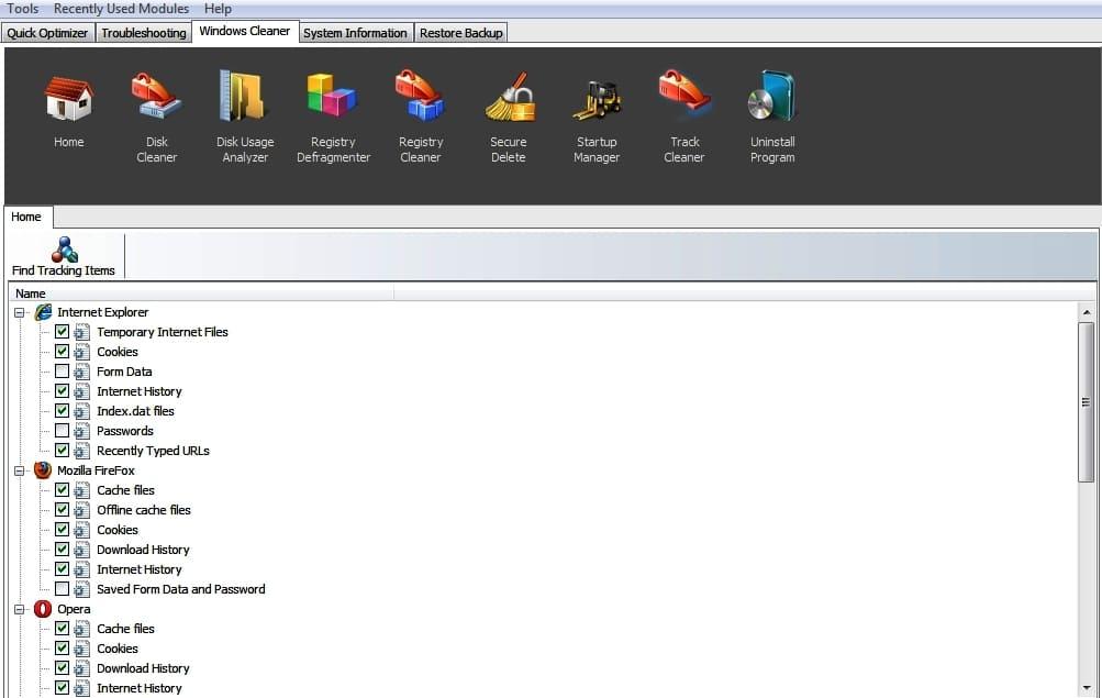 Выбор элементов браузеров для очистки